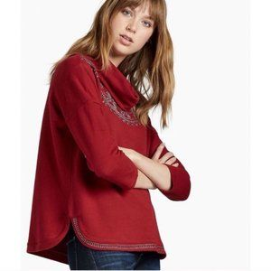 Lucky Brand Cowl Neck Red 3/4 Sleeve Sweater Small